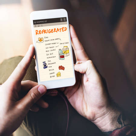 refrigerated: Nutrition Refrigerated Grocery Shopping List Concept