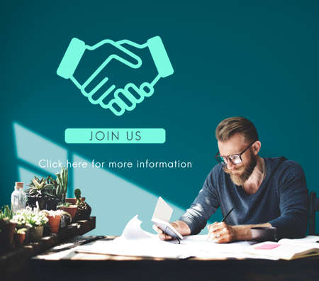 business graphics: Business Organization Handshake Graphics Concept