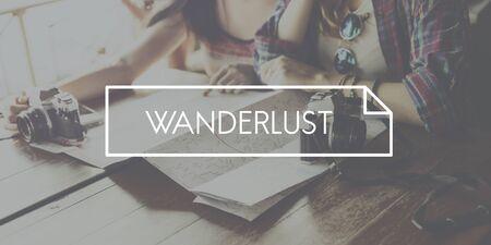 wanderlust: Trip Tourism Worldwide Wanderlust Lifestyle Concept Stock Photo