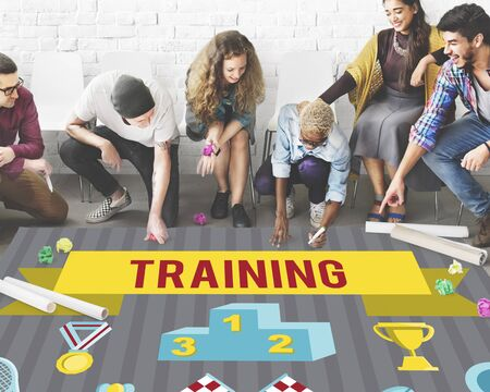 Winner Training Team Sport Event-Grafik-Konzept Standard-Bild