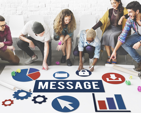 Group of people on floor with message concept
