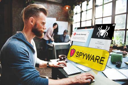 computer hacker: Spyware Computer Hacker Virus Malware Concept Stock Photo