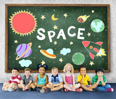 elementary age: Outer Space Icons Drawing Graphics Concept
