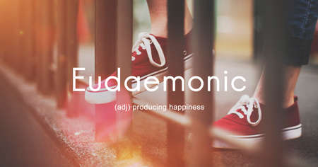 enjoyment: Eudaemonic Happiness Enjoyment Cheerful Carefree Concept Stock Photo