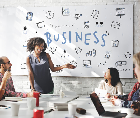 business graphics: Business Icons Strategy Planning Graphics Concept Stock Photo