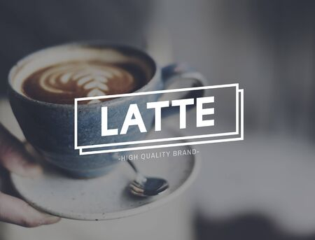 caffeinated: Latte Coffee Relaxing Break Time Rest Concept Stock Photo