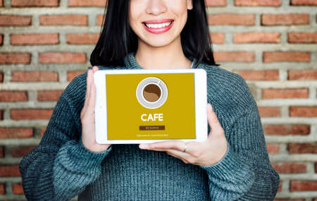 woman drinking milk: Cafe Coffee Coffee Shop Drink Concept Stock Photo