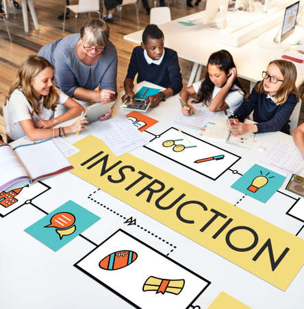 instruction sheet: School Teaching Study Literacy Education Concept Stock Photo