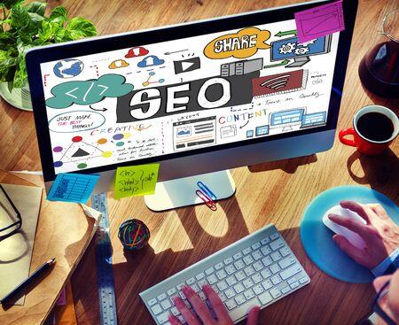 SEO Content Search Engine Optimization Concept Stock Photo