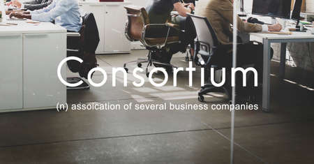 cooperativismo: Consortium Alliance Combine Cooperative Group Concept Foto de archivo