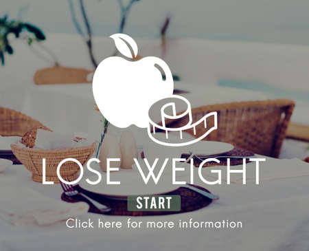 lose balance: Lose Weight Balance Fitness Slim Diet Nutrition Concept Stock Photo