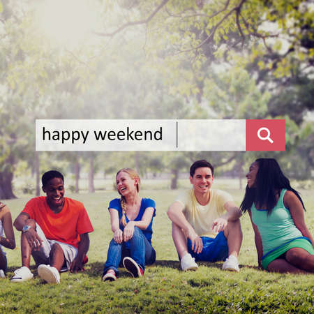 free time: Happy Weekend Enjoyment Free Time Greeting Concept Stock Photo