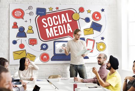 boardroom: Social Media Connection Global Communication Concept Stock Photo