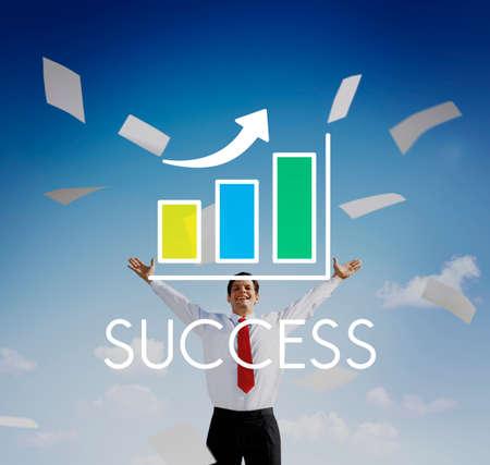 increasing: Success Increasing Bar Chart Concept