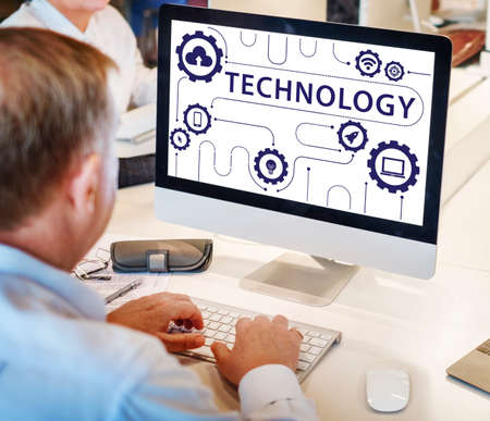 advanced computing: Technology Connecting Cloud Network Concept Stock Photo