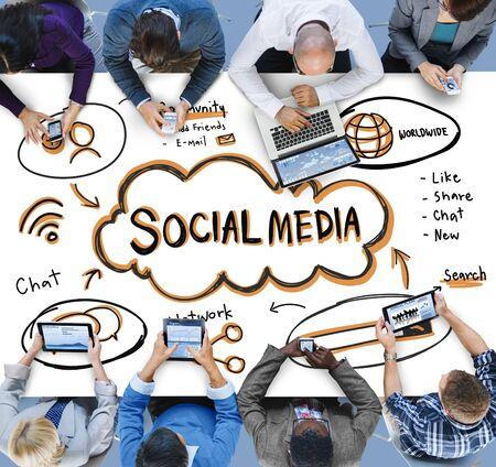 Social Media Internet Network Technology Cocnept Stock Photo