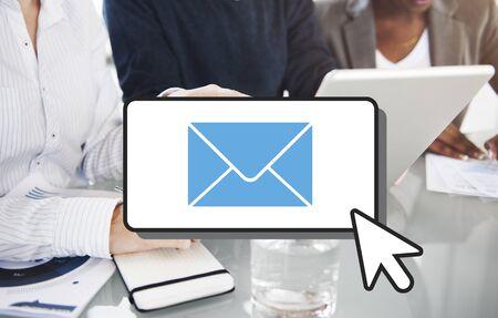correspondencia: E-mail Connection Communication Correspondence Cocnept Foto de archivo