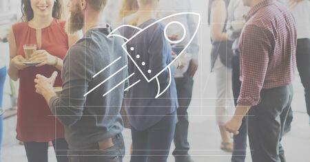 socialize: Rocket Ship Launch Graphic Concept