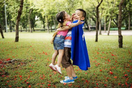 Adolescent Siblings Playful Park Concept
