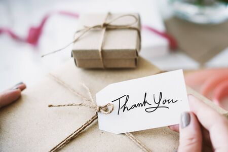 pack string: Present Thank You Message Note Concept