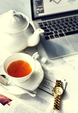 Tea Break Relax Chill Newspaper Concept