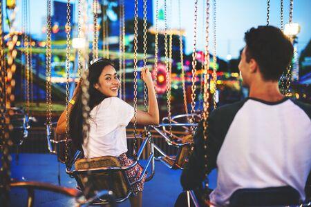 Amusement Park Funfair Festive Playful Happiness Concept Stock Photo