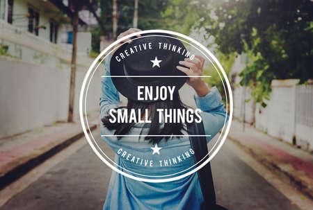 pleasurable: Enjoy Small Things Pleasurable Happiness Delightful Concept