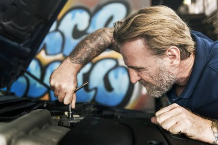 tuning: Maintenance Mechanical Tuning Automobile Concept Stock Photo