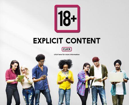 Eighteen Plus Adult Explicit Content Warning Stock Photo