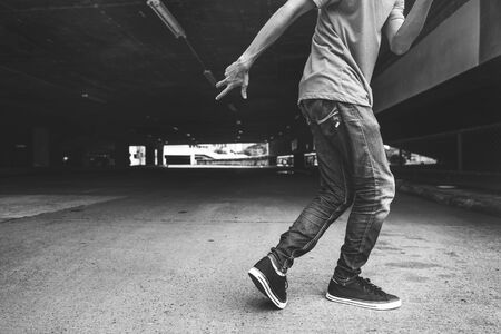 breakdance: Guy Breakdance Pose Oudoors Concept Stock Photo