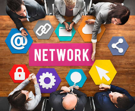 networked: Network Networking Internet Connection Concept Stock Photo