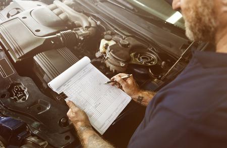 adjustment: Garage Automotive Tuning Adjustment Clipboard Concept Stock Photo