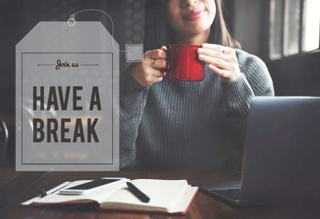 office time: Break Tea Coffee Time Relax Concept