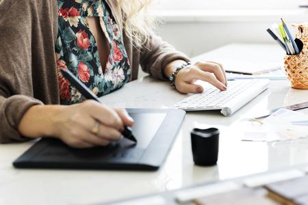 hand pen: Woman Working Graphic Designer Creativity Editor Ideas Concept