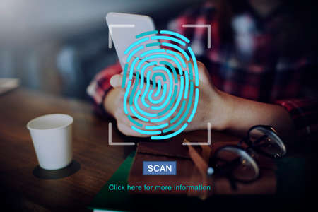 protection concept: Fingerprint Technology Data Protection Concept Stock Photo