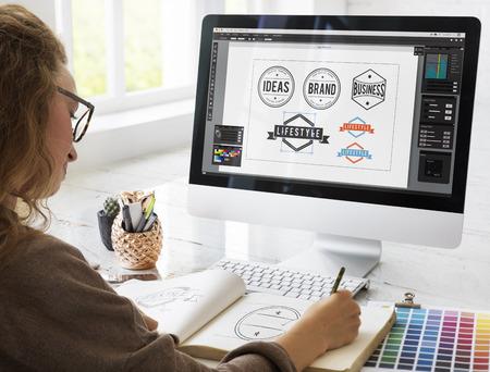 アート デザイン図面バッジ ロゴのコンセプト 写真素材