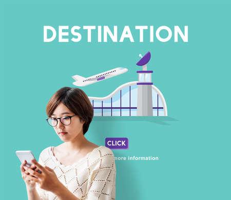 aircraft take off: Destination Business Trip Flights Travel Concept Stock Photo