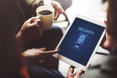contraseña: Concepto contraseña de Tecnología de Seguridad de la huella digital Foto de archivo