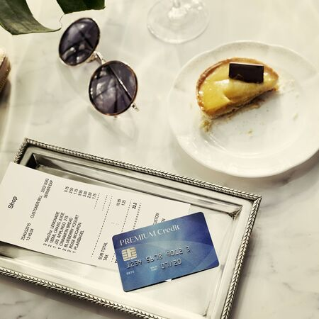 owed: Credit Debit Card Financial Money Paying Balance Concept