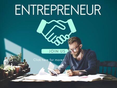 venture: Entrepreneur Business Venture Handshake Graphic