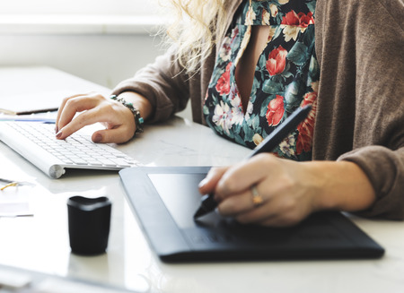 editor: Woman Working Graphic Designer Creativity Editor Ideas Concept