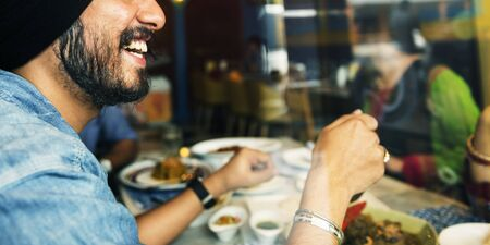 Indian Food Eating Cuisine Togetherness Concept Zdjęcie Seryjne