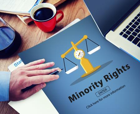 racial diversity: Minority Rights Diversity Ethnicity Racial Respect Concept Stock Photo