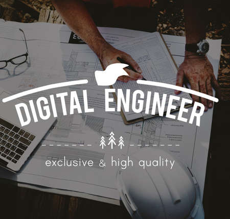 electronically: Digital Engineer Engineering Mechanical Machinery Innovation Concept