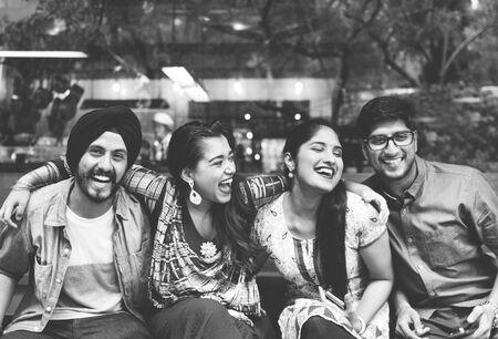 meetup: Indian Friends Hangout Happy Concept Stock Photo