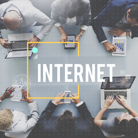 Business meeting with internet concept