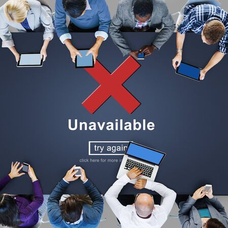 inaccessible: Unavailable Disconnected Inaccessible Unable to Connect Concept