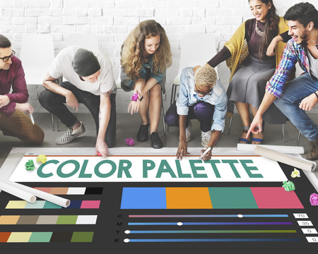 Designers with color palette concept