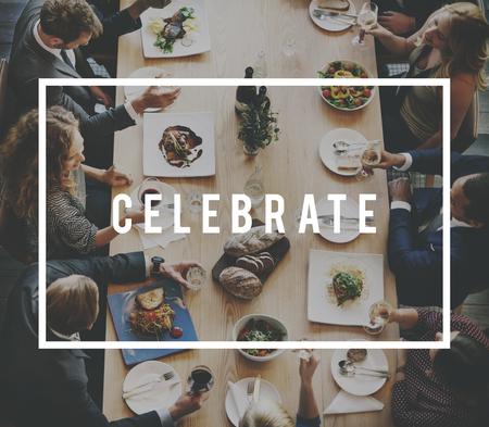 Dining Business Lunch Meal Team Anniversary Concept Reklamní fotografie