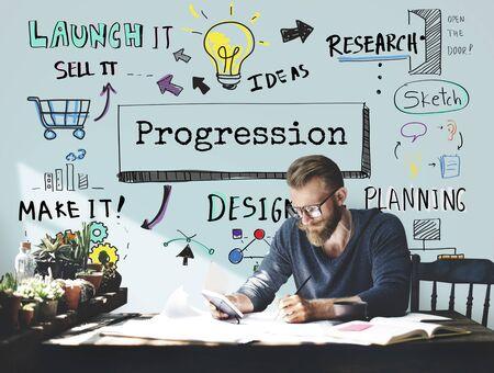Méthode Stratégie Business Workflow Progress Concept Banque d'images